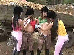 Lesbian orgy at the stables