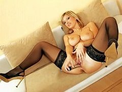 Stocking Clad Blonde Masturbating with Dildo